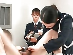 japanese police woman toying fellow constricted gazoo table asian brunette