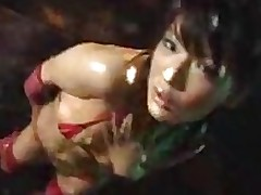 larger oily chinese dancing oil teasing fishnet