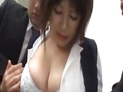 titsy office lady getting marangos massaged lotion rubbed knobs stockings